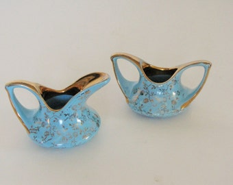 Vintage Mid Century  Blue and Gold Tiny Creamer and Sugar - with 22 K Gold