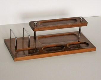 Vintage Wooden and Metal Desk Organizer