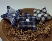 3 Blue Plaid Stars Bowl Fillers ~ Home Decor ~ Country Primitives Miniatures