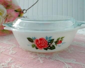 Fireking Casserole Dish Roses Made in England, Refrigerator
