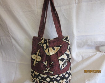 Hawaiian bark cloth bag.