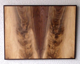 Bookmatched Black Walnut & Ebony Abstract Wood Wall Art Artist Signed No. 177