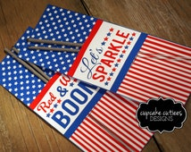 4th Of July-  Sparkler Tags Large - Card Craft Digital Printable U PRINT Instant Download