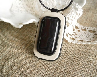 Leather Pendant, Leather Necklace, Agate Pendant, Stone Necklace, Black & White Pendant, Rectangle Gemstone Jewelry, Geometric Necklace