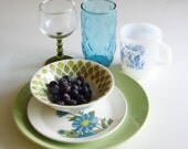 Vintage Place Setting - Mismatched Dishes - Ironstone and Glass - Dishes for One - Turquoise and Green Dish Set Dinner Dishes