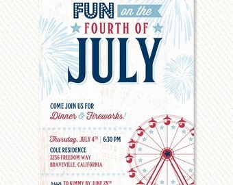 4th of July Party Patriotic County Fair Invitations – Printable