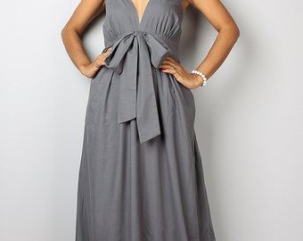 Grey Maxi Dress - Elegant V Neck Long Evening Dress  : Love Party Collection (Best Seller)