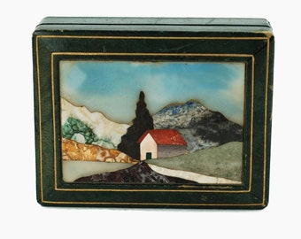 Vintage Italian Pietra Dura Lidded Green Leather Box with Wood Liner