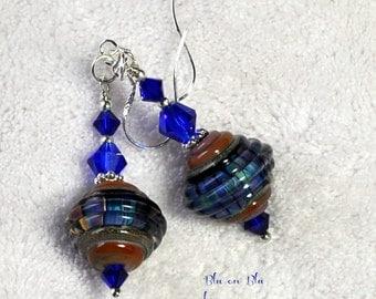 Blue Earrings, Lampwork and Sterling silver Earrings, Dangle Earrings,Blue Ribbed Earrings - BLU ON BLU