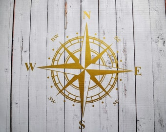Gold Nautical Compass Vinyl Wall Decal