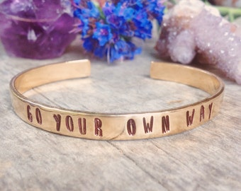 Go Your Own Way Cuff Bracelet - Raw Brass Bohemian Gypsy Bangel, Boho Beach Jewelry, Festival, Monogram, Hand Stamped, Custom, Letters, Word