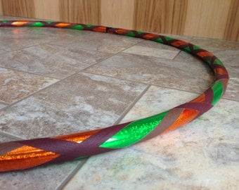 Earth Sparkle Hula Hoop - Infinity Collapsible Travel Hoop for Dance Fitness - Green Orange Brown Maroon Sparkle - 100, 125 PSI PE Beginner