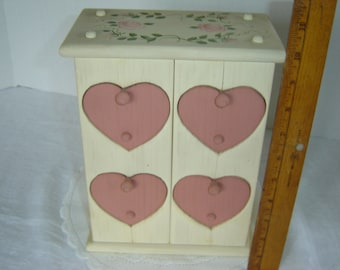 """Heart chest of drawers, small wooden chest, trinket holder, jewelry storage, keepsake box, 10"""" high, handmade and painted, cottage chic, 80s"""