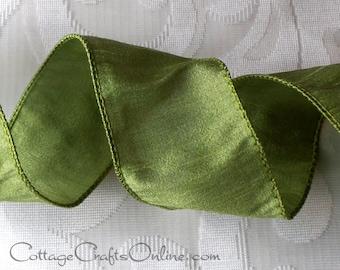 "Wired Ribbon, 2 1/2""  Green Faux Silk - THREE YARDS  - Offray Ribbon ""Anisha Lemongrass"" Wedding Wire Edged Ribbon"