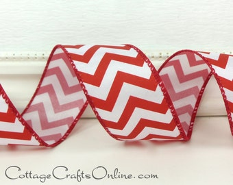 """Wired Ribbon, 1 1/2"""",  Red and White Chevron Stripe - THREE YARDS - Zig Zag Candy Striped, Christmas, July 4th, Valentine Wire Edged Ribbon"""