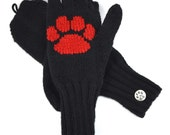 Paw Print Convertible Mittens (Flip, Smoker's or Reader's Gloves) - Free Shipping - Featured in City Dog Magazine