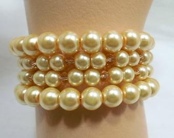 Pearl & Crystal Wrap Around Bracelet, Creamy Gold Glass Pearls with Crystals, 4 Wrap Pearl Crystal Bracelets, PEARLS, Beadgarden Bracelets