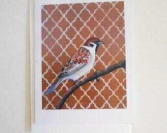 Sparrow Blank Note Card