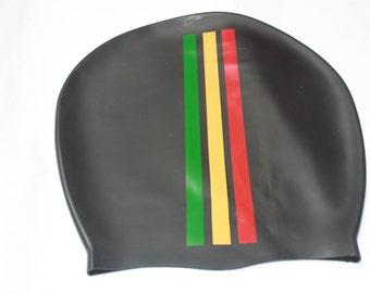 Medium Rasta stripe Dreadlock swim cap - bathing hat - keep your locs dry - shower cap  silicone cap - great for braids afro or natural hair