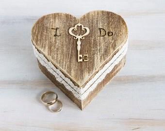 Wedding Ring Box  Ring Bearer Box  I Do Ring Bearer Box  Rustic Ring Bearer Box Engagement Ring Box Pillow Alternative Wedding Ring Holder