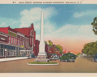 Walhalla, South Carolina, Main Street, Wagener Monument - Linen Postcard - Unused (F)