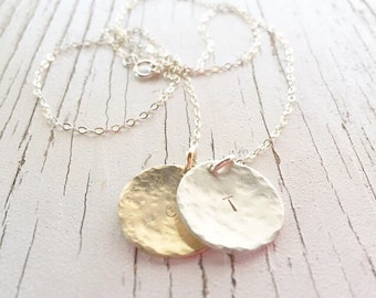 Hammered Disc Layered Necklace, build your own necklace, fully customizable necklace, bridal jewelry, monogram necklace, mixed metal pendant