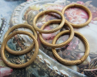 Vintage Brass Plated Steel Textured 24mm Jump Rings 6Pcs.