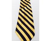 Vintage 1970s Gold & Navy Striped Silk Brooks Brothers Tie