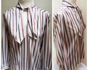 Vintage 1970s Brown & White Striped Blouse- L