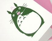 Totoro Flower Letterpress Card - Birthday, Sympathy, Get Well, Mother's Day