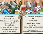 His & Hers Shower Invitation, Country Chic, Stock the Bar, Beer, Garden, Power Tools, Guitar, Kitchen, Burlap, Wood and Golf digital file
