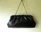 Black Clutch Bag with chain faux leather handbag evening bag high fashion hipster prom formal vintage 50s 60s vegan clutch purse Mad Men era