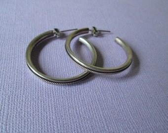 Silver Hoop Earrings sterling silver large silver hoops with post textured rope vintage 80s earrings thick silver hoops pierced earrings