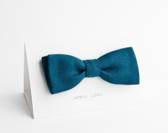 Self tie bow tie, dark teal bow tie, classic bow tie - double sided, MADE TO ORDER