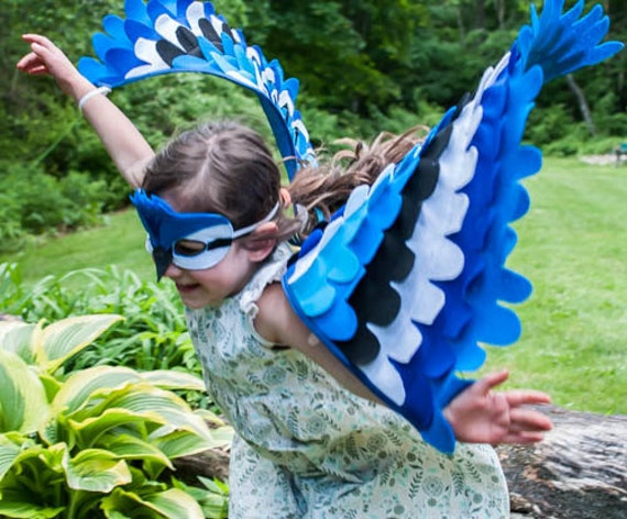 BLUE JAY COSTUME, Wings and Mask 0-24 months/ 2-5 years / 5-10 years- Eco Friendly!