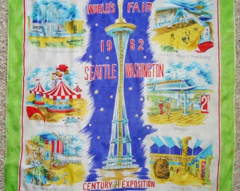 "1962 SEATTLE WORLD'S FAIR Scarf 30"" x 30"""
