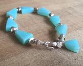 Blue Opal Bracelet - Blue Opal Jewelry - Gemstone Jewellery - Sterling Silver - Beaded - Luxe