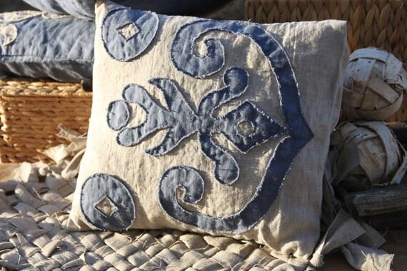 Linen Appliqued Pillow Case. Decorative Small Pillow Ikat
