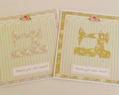 Set Of Two Sewing Themed Thank You Cards.