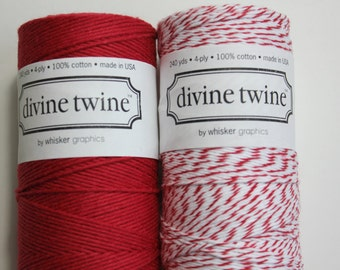 Baker's Twine - Solid Red and Cherry Divine Twine - 2 Full Spools - 240 yards each