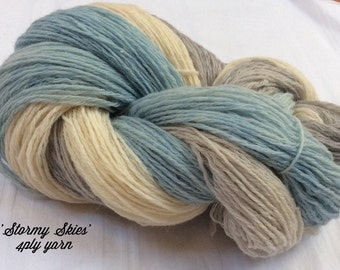 SALE Hand dyed tricolor 4ply sock knitting yarn. Grey,Blue, White. 'Stormy Skies' colorway.