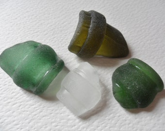 4 curved bottle sea glass - Lovely mixed colour English beach finds