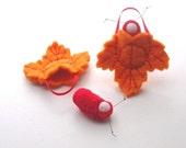 Autumn leaf ornament pocket doll caterpillar waldorf decor LO-OR1