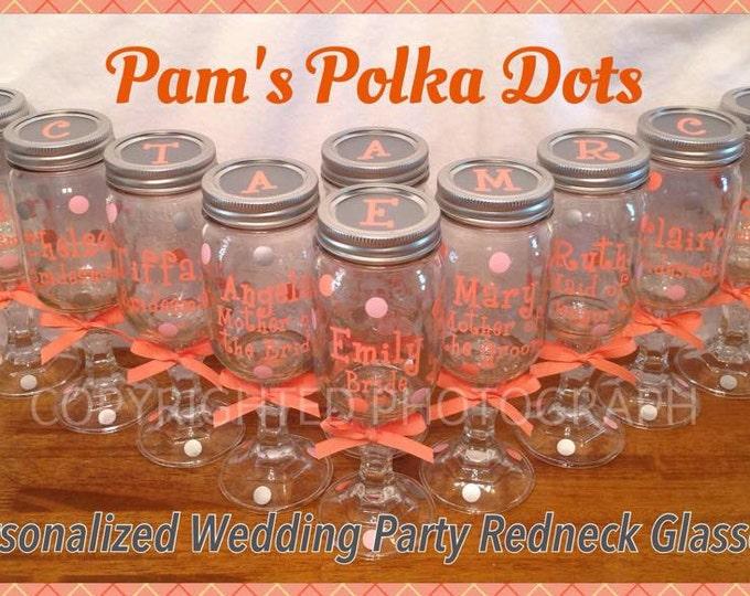 10 Personalized REDNECK WINE GLASSES Bridal Party Bride Bridesmaids Bachelorette Wedding Polka Dots