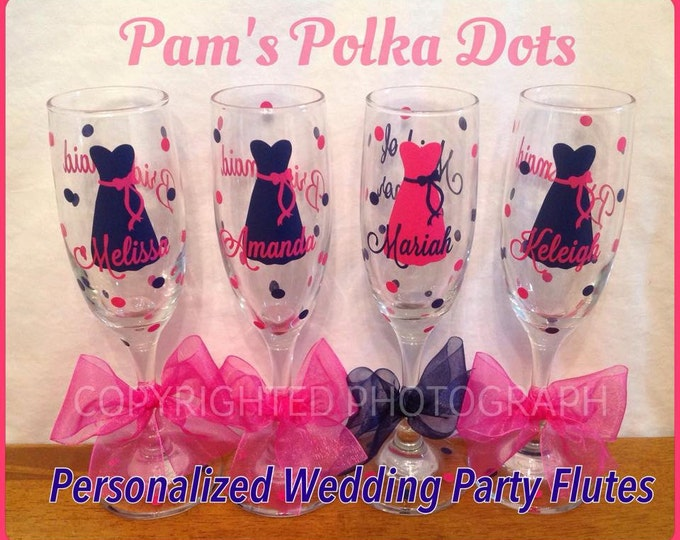 4 Personalized BRIDE & BRIDESMAID Champagne FLUTES with Dresses Initial Bridal Party Role and Polka Dots