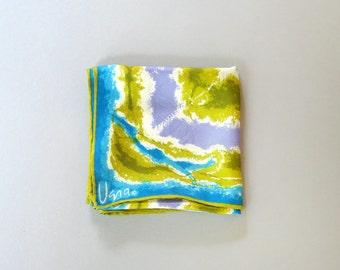 Vintage Vera Silk Scarf Tie Dye Look - Blue / Chartreuse