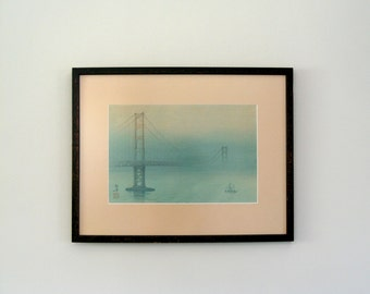 "Vintage Kakunen Tsuruoka ""Golden Gate Bridge"" Woodblock Art Print"
