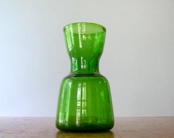 Mid Century Blenko Green Glass Vase Mouth Blown - Wayne Husted
