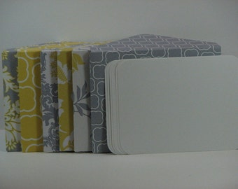 Trendy Yellow and Grey Mini Note Card and Envelope Set