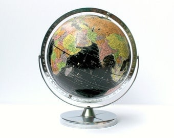 Globe with Black Oceans - Vintage 1961 Replogle Globe for Encyclopedia Britannica Inc - Chrome Base and Frame